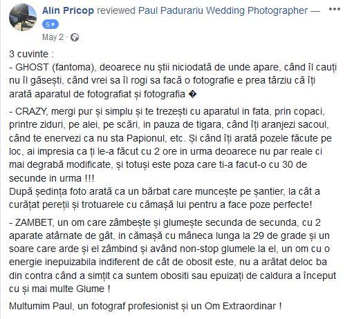 Testimonial Paul Padurariu fotograf de nunta Iasi nunta traian Antonia si Alin